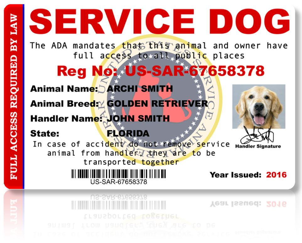 Front of Service Dog Registration ID Card